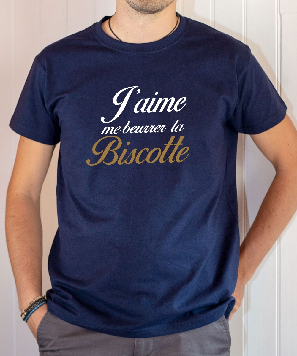 T-shirt OSS 117 : J'aime me beurrer la biscotte (texte) - Tee-shirt bleu marine homme