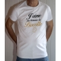T-shirt OSS 117 : J'aime me beurrer la biscotte (logo) - Tee-shirt blanc homme