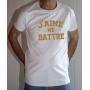 T-shirt OSS 117 : J'aime me battre (texte) - Tee-shirt blanc homme