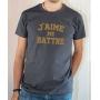 T-shirt OSS 117 : J'aime me battre (texte) - Tee-shirt gris homme