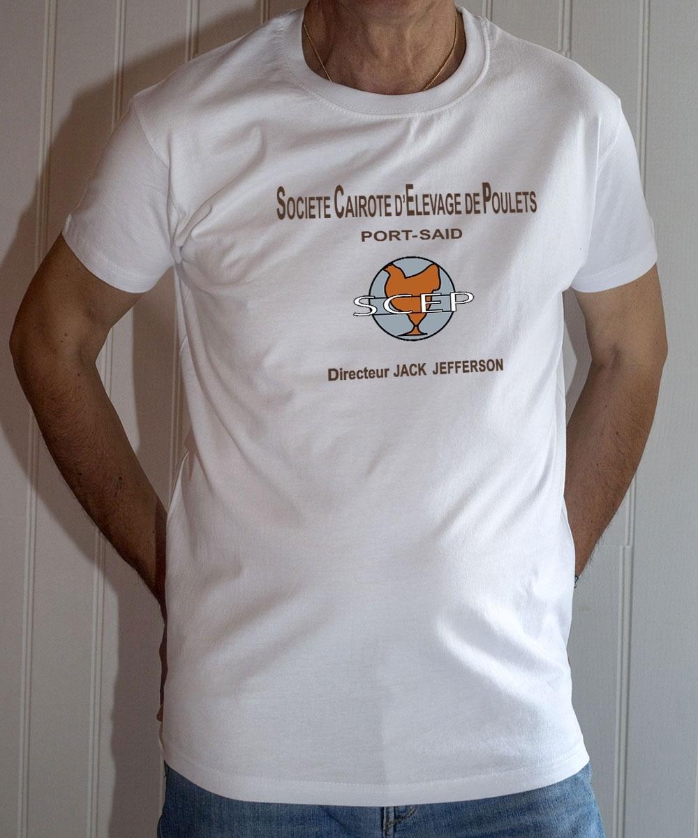 T-shirt OSS 117 : SCEP Société Cairote d'Élevage de Poulets - Tee-shirt blanc homme