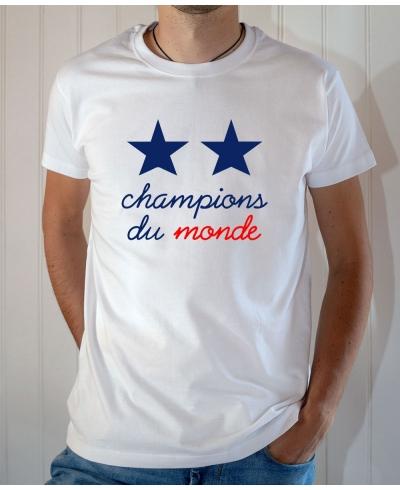 T-shirt Champions du monde 2 étoiles équipe France football 2018 - Tee-shirt Homme blanc