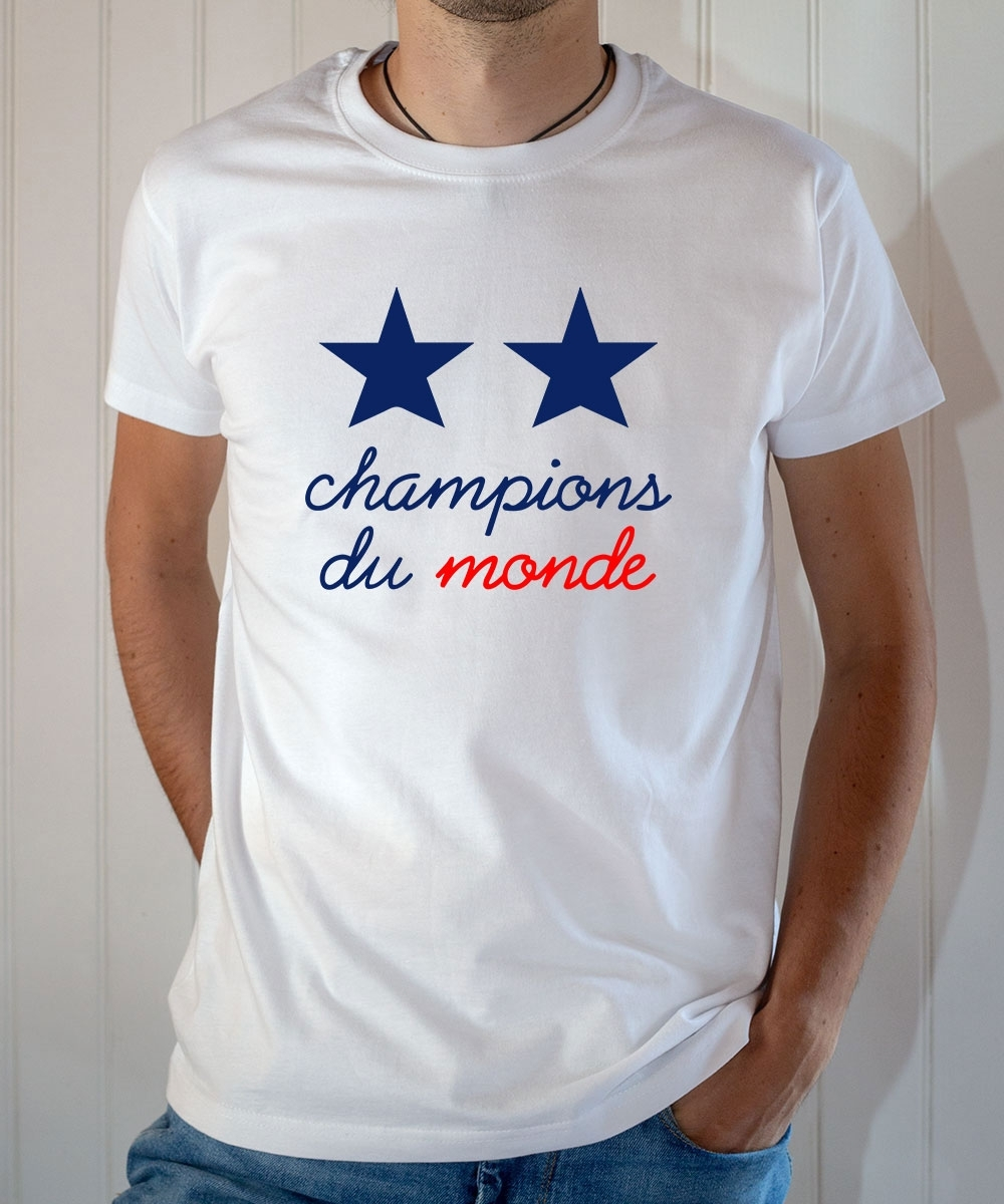 T-shirt Champions du monde 2 étoiles équipe France football 2018 - Tee-shirt d72cc23f60cd