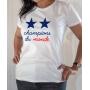 T-shirt Champions du monde 2 étoiles équipe France football 2018 - Tee-shirt Femme blanc
