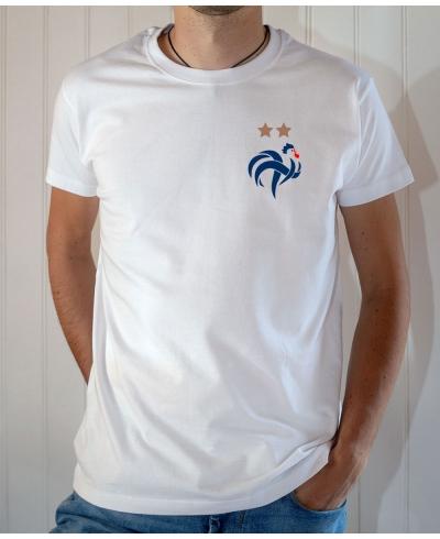 T-shirt logo Coq Français équipe France football Champions du monde 2 étoiles  2018 - Tee-shirt Homme blanc