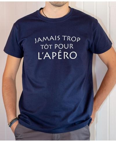 T-shirt humour : Jamais trop tôt pour l'apéro - Tee-shirt homme bleu marine