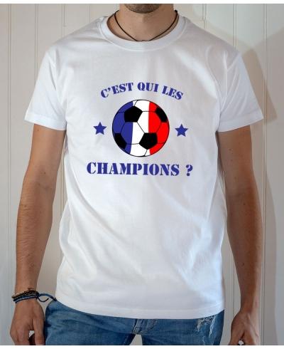 T-shirt C'est qui les champions du monde 2018 France ballon bleu blanc rouge - Tee-shirt Homme blanc
