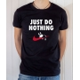 T-shirt parodie Nike : Just Do Nothing (Avec lapin qui dort) - Tee-shirt noir homme