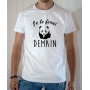 T-shirt humour : Je le ferai demain avec Panda - Tee-shirt blanc homme