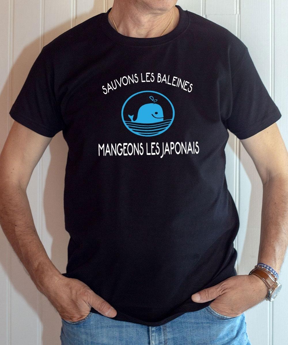 T-shirt humour : Sauvons les baleines, mangeons les japonais - Tee-shirt noir homme