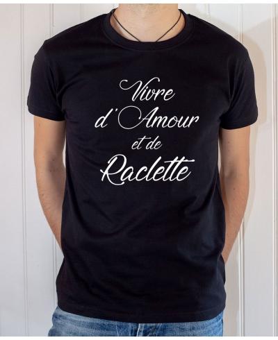 T-shirt Humour : Vivre d'Amour et de Raclette - Tee-shirt noir homme