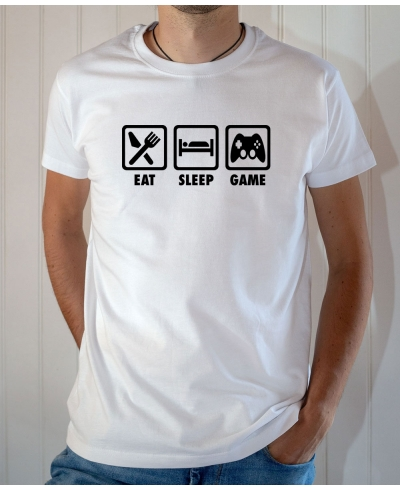 T-shirt Humour : Eat Sleep Game - Tee-shirt blanc homme