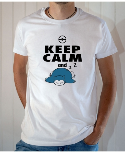 T-shirt Pokémon Humour : Keep Calm and Sleep (Ronflex / Snorlax) - Tee-shirt blanc homme