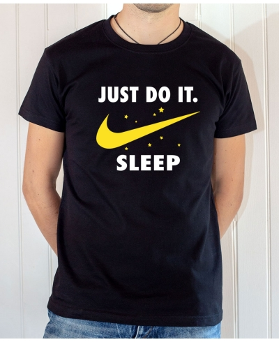 T-shirt parodie Nike : Just Do It Sleep (Avec lune Nike et étoiles) - Tee-shirt noir homme