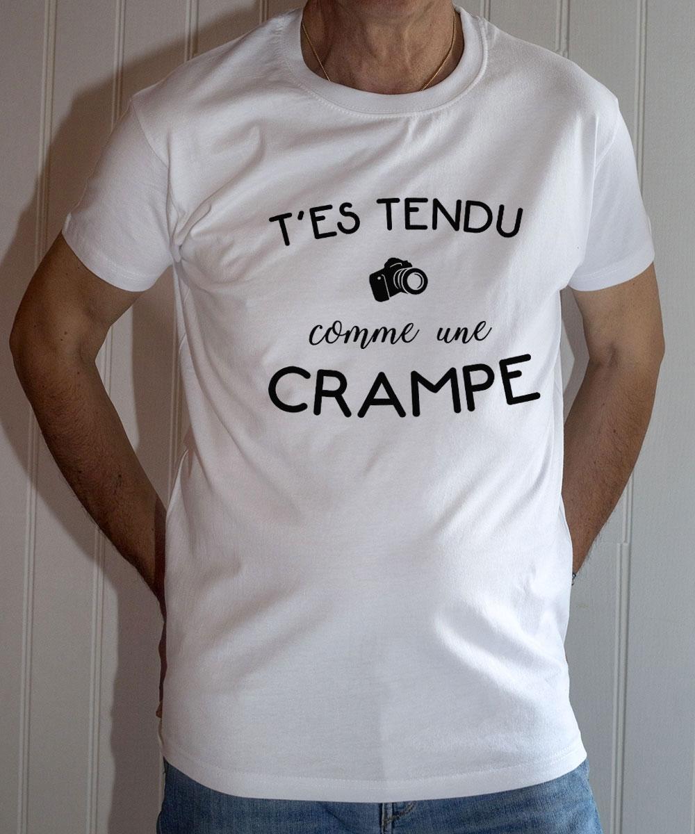 T-shirt Dikkenek : T'es tendu comme une crampe - Tee-shirt homme blanc