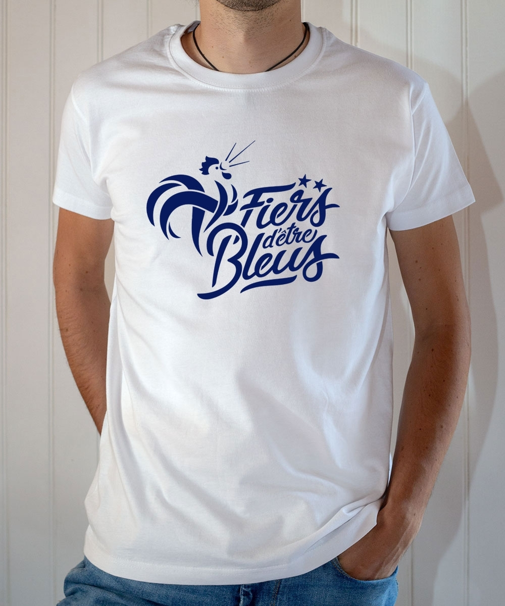 T-shirt Fiers d'être Bleus 2 étoiles équipe France football 2018 - Tee-shirt Homme blanc