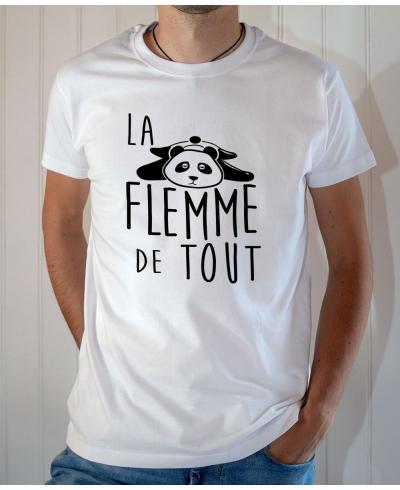 T-shirt Humour : La flemme de tout (avec Panda fatigué et allongé) - Tee-shirt blanc homme