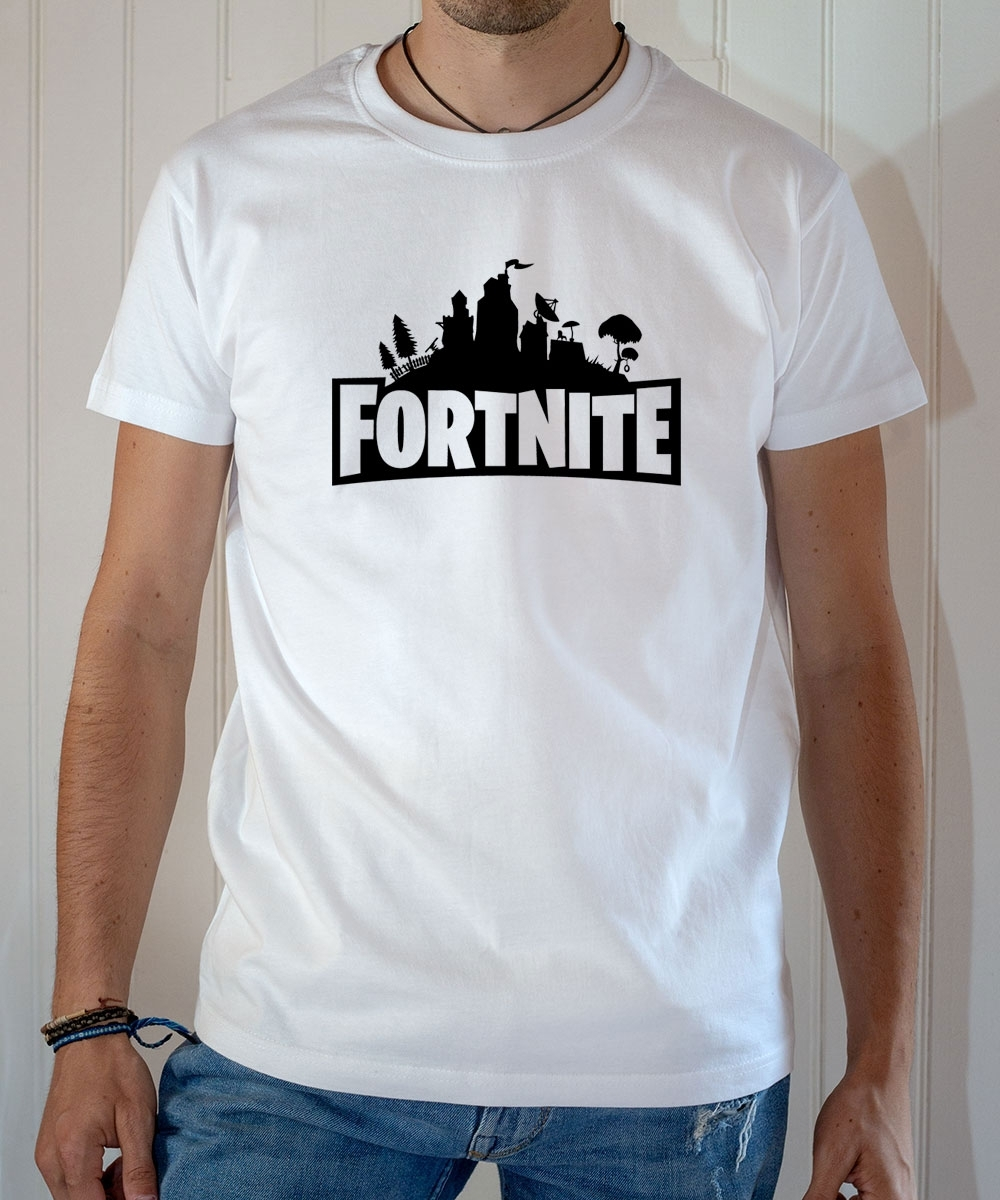 T-shirt Jeux Vidéo : Logo Fortnite - Tee-shirt homme blanc