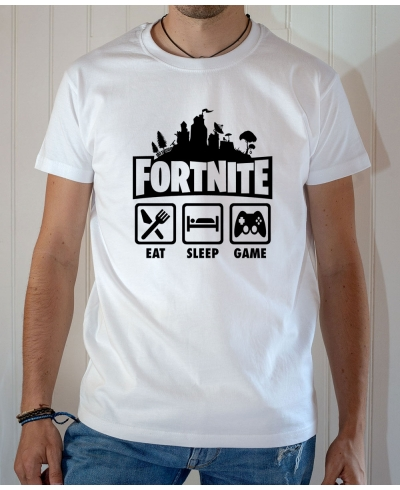 T-shirt Jeux Vidéo Fortnite : Eat Sleep Game - Tee-shirt homme blanc