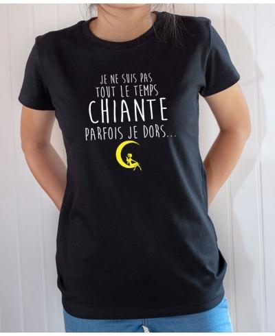 T-shirt Humour : Je ne suis pas tout le temps chiante, parfois je dors - Tee-shirt femme noir
