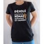 T-shirt Humour : Désolé Fille déjà prise par Homme intelligent et canon - Tee-shirt femme noir