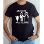 T-shirt Humour : Je suis Polygame avec moto et femme - Tee-shirt noir homme