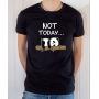 T-shirt Humour : Not Today (avec Panda allongé sur bambou) - Tee-shirt noir homme
