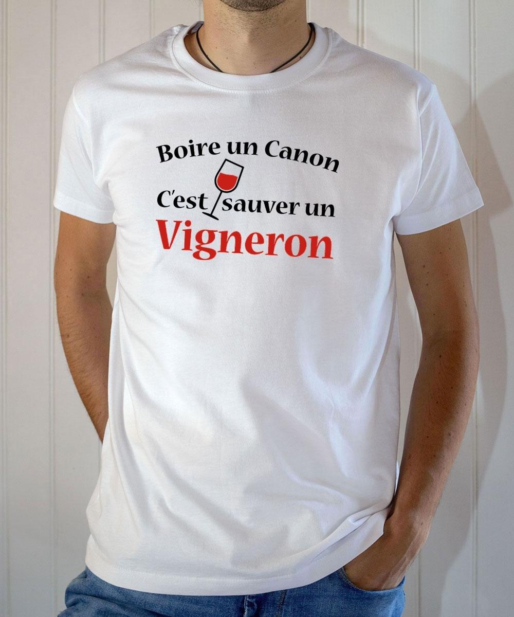 T-shirt humour : Boire un canon c'est sauver un vigneron - Tee-shirt homme blanc