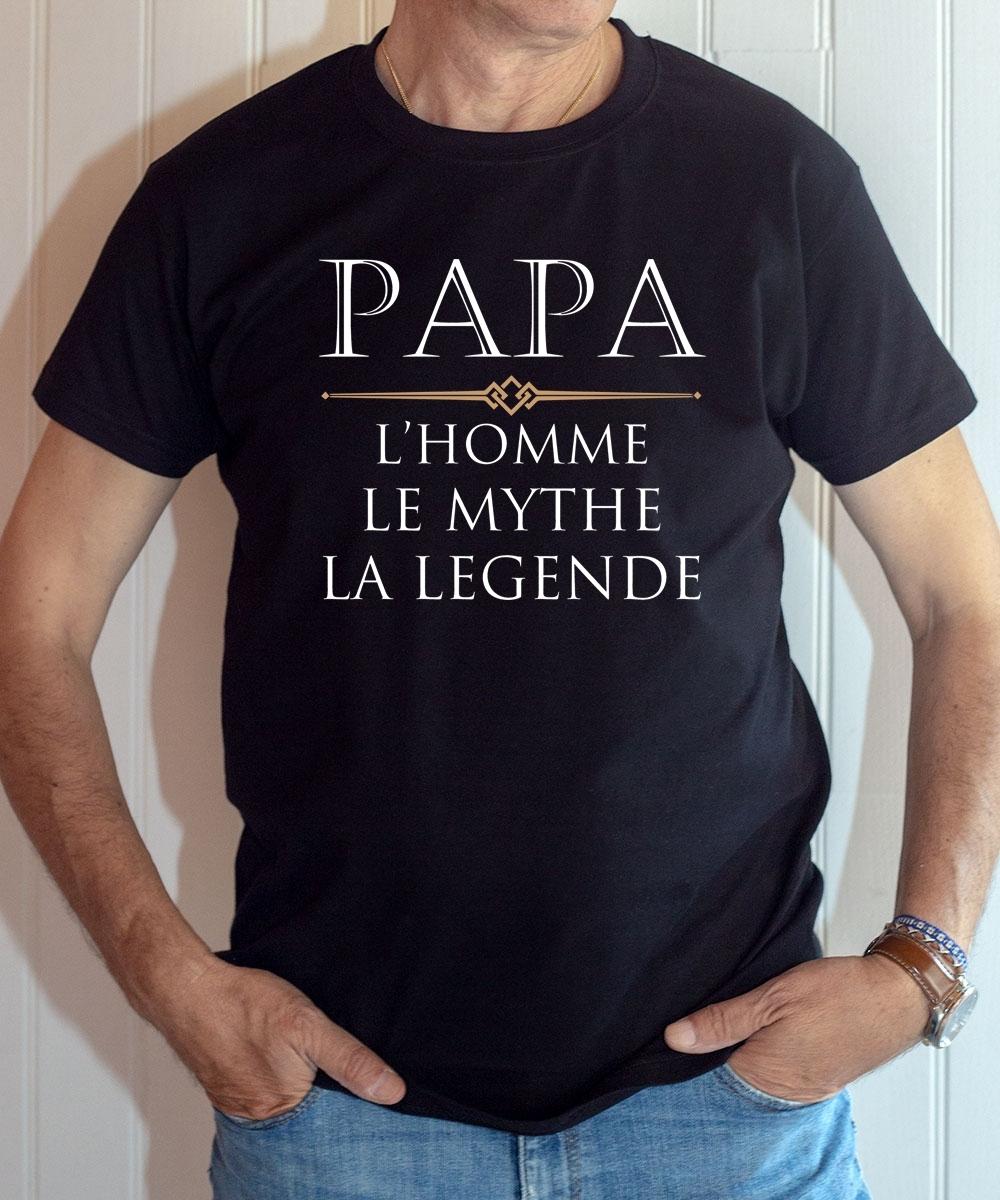 T-shirt Famille : Papa, l'homme, le mythe, la légende - Tee-shirt noir homme
