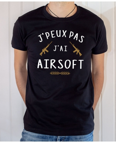 T-shirt Humour : J'peux pas j'ai Airsoft - Tee-shirt noir homme