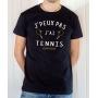 T-shirt Humour : J'peux pas j'ai Tennis raquettes - Tee-shirt noir homme