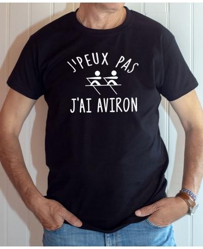 T-shirt Humour : J'peux pas j'ai Aviron - Tee-shirt noir homme