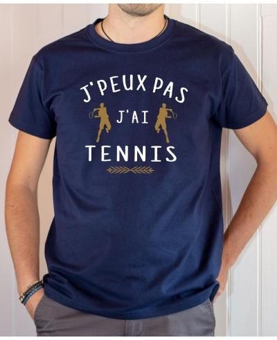 T-shirt Humour : J'peux pas j'ai Tennis joueurs - Tee-shirt homme Bleu marine