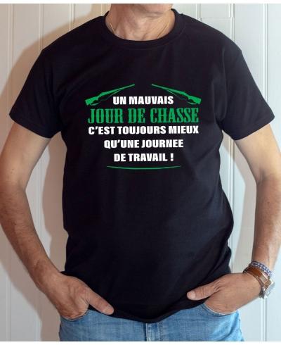 T-shirt Humour : Mauvais jour de chasse - Tee-shirt noir homme