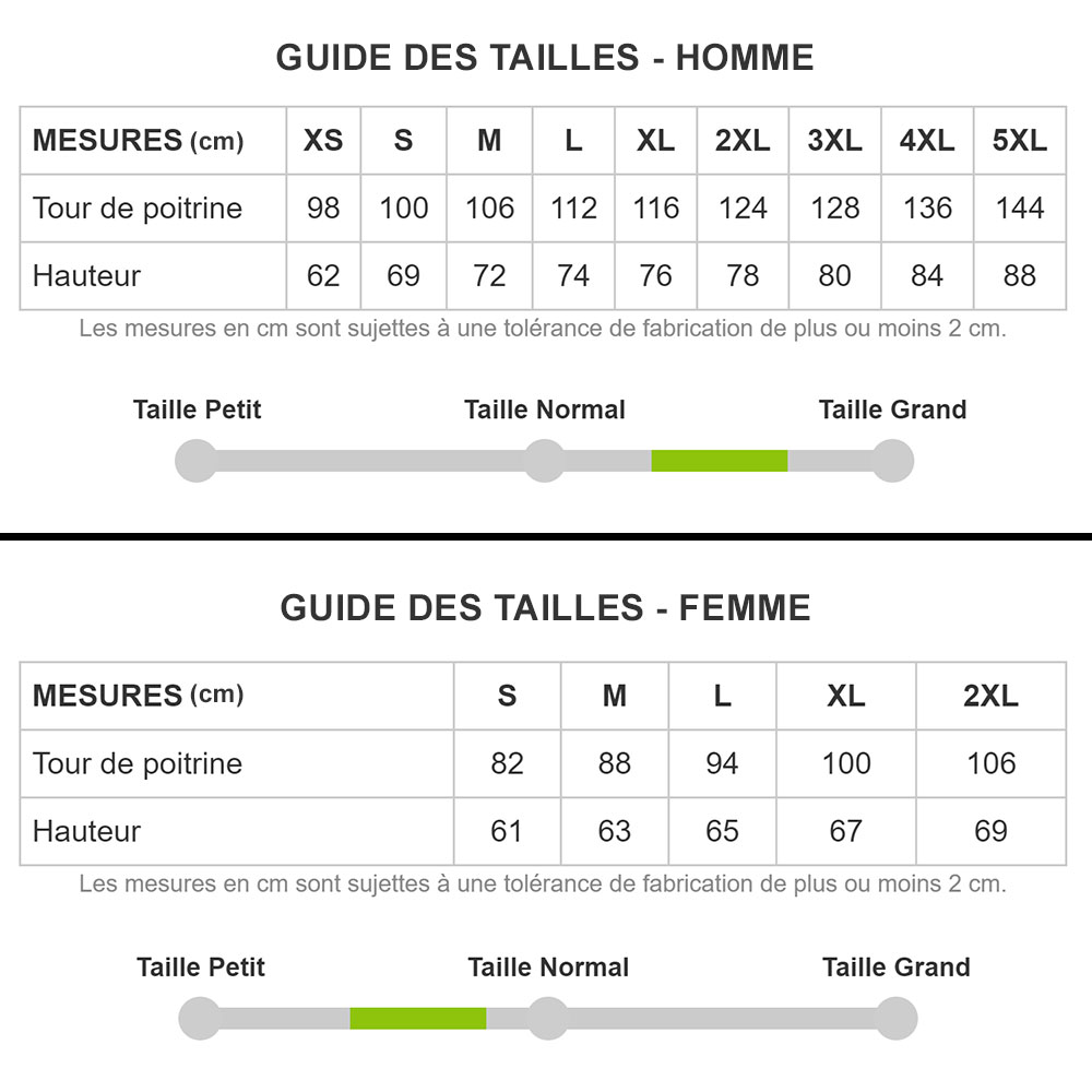 Guide des tailles T-shirts Homme et Femme